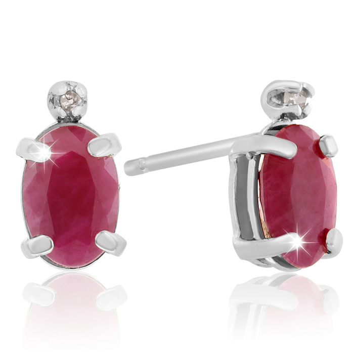 1.25 Carat Oval Ruby & Diamond Earrings in 14k White Gold (0.7 g)