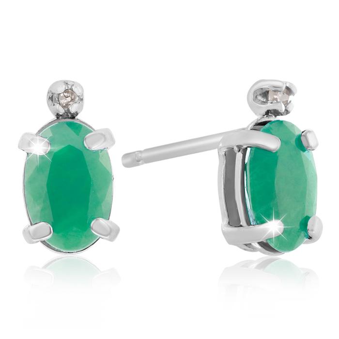 1 Carat Oval Emerald Cut & Diamond Earrings in 14k White Gold (0.7 g), J/K by SuperJeweler