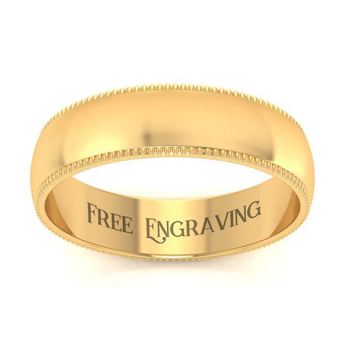 10K Yellow Gold (5 g) 5MM Comfort Fit Milgrain Ladies & Mens Wedding Band, Size 7.5, Free Engraving by SuperJeweler