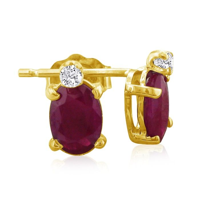 2 Carat Oval Ruby & Diamond Earrings in 14k Yellow Gold (0.7 g),