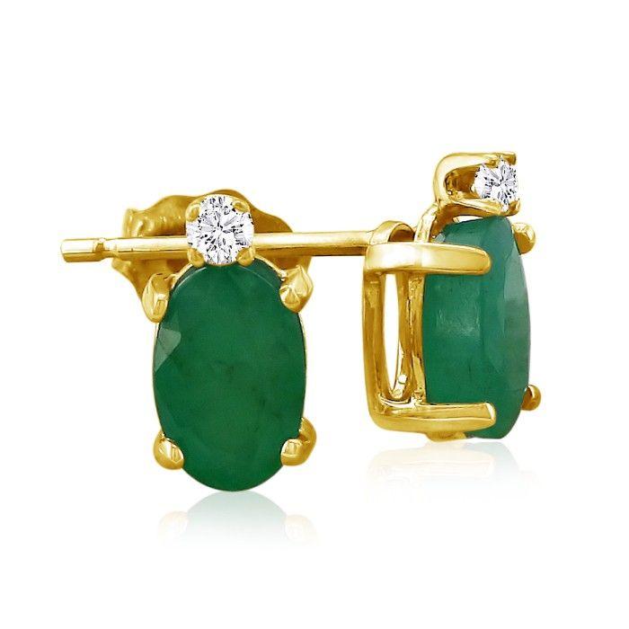 1 3/4 Carat Oval Emerald Cut & Diamond Earrings in 14k Yellow Gold (0.7 g), J/K by SuperJeweler
