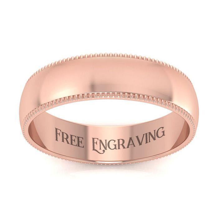 14K Rose Gold (5.5 g) 5MM Comfort Fit Milgrain Ladies & Mens Wedding Band, Size 6.5, Free Engraving by SuperJeweler