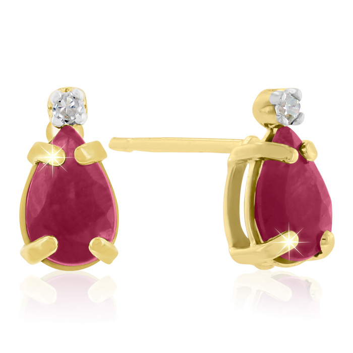 1.25 Carat Pear Ruby & Diamond Earrings in 14k Yellow Gold (0.7 g), J/K by SuperJeweler