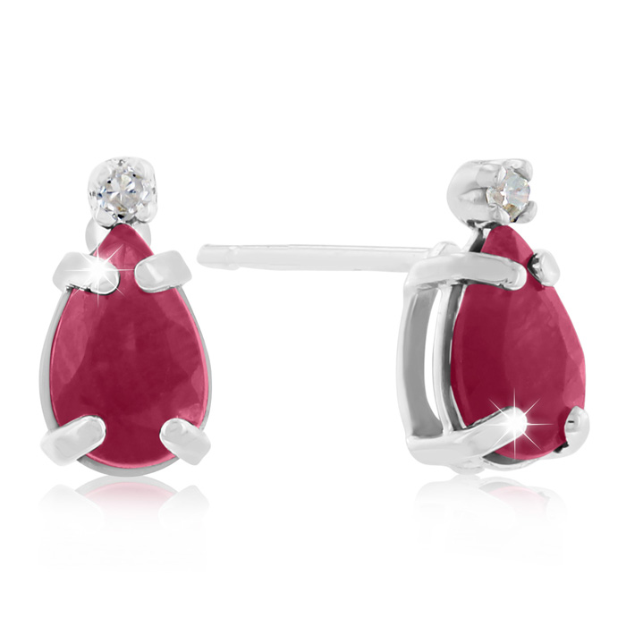 1.25 Carat Pear Ruby & Diamond Earrings in 14k White Gold (0.7 g)