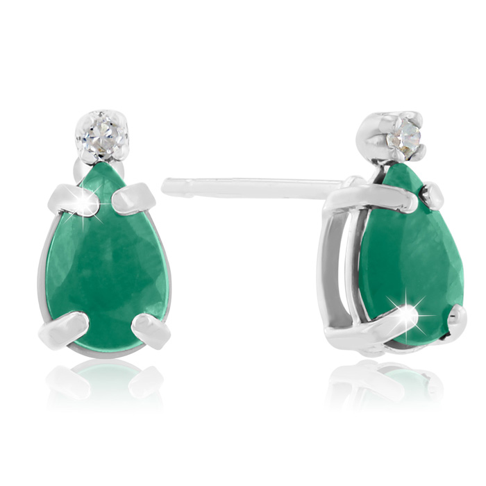 1 Carat Pear Emerald Cut & Diamond Earrings in 14k White Gold (0.