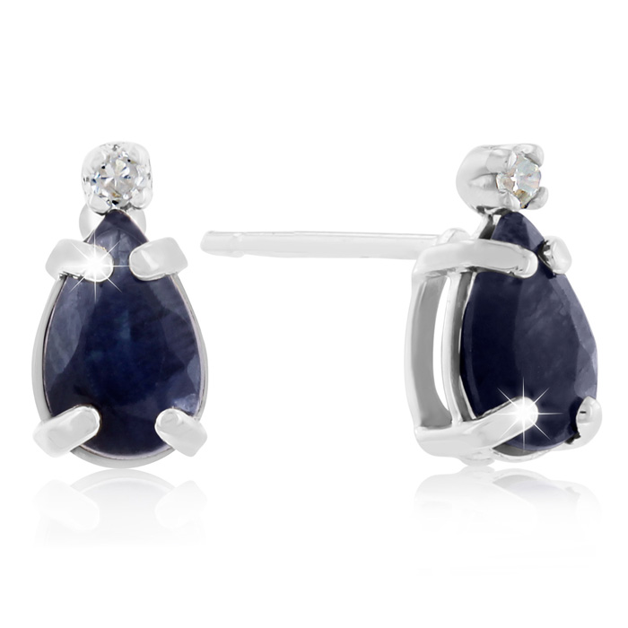 1.25 Carat Pear Sapphire & Diamond Earrings in 14k White Gold (0.7 g), J/K by SuperJeweler