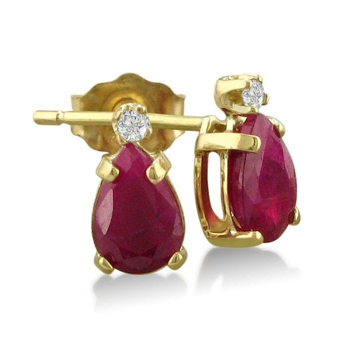 2 Carat Pear Ruby & Diamond Earrings in 14k Yellow Gold (0.7 g),