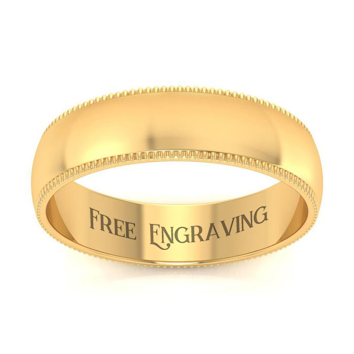 14K Yellow Gold 5MM Comfort Fit Milgrain Ladies and Mens Wedding Band, Size ..