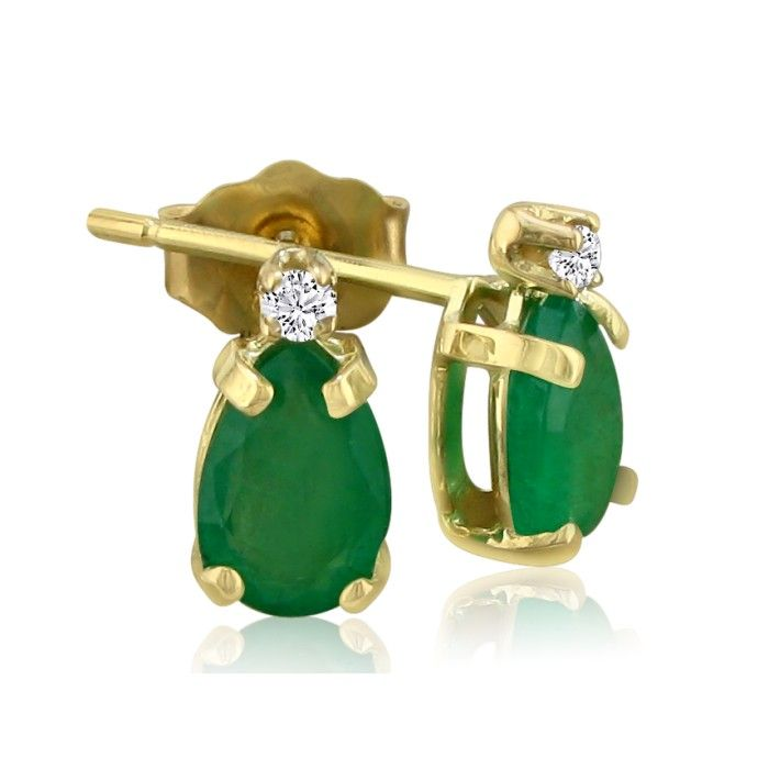 1 3/4 Carat Pear Emerald Cut & Diamond Earrings in 14k Yellow Gol