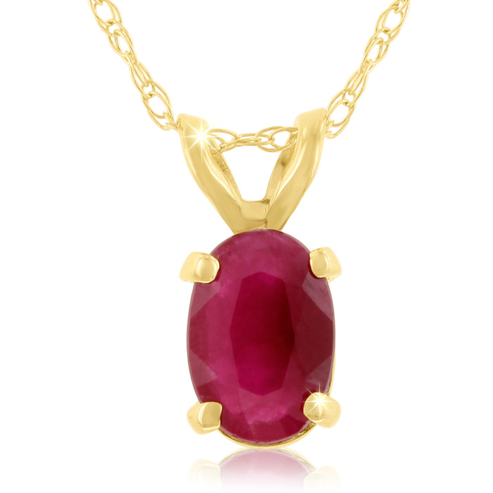 .60 Carat Oval Ruby Pendant Necklace in 14k Yellow Gold (0.7 g),