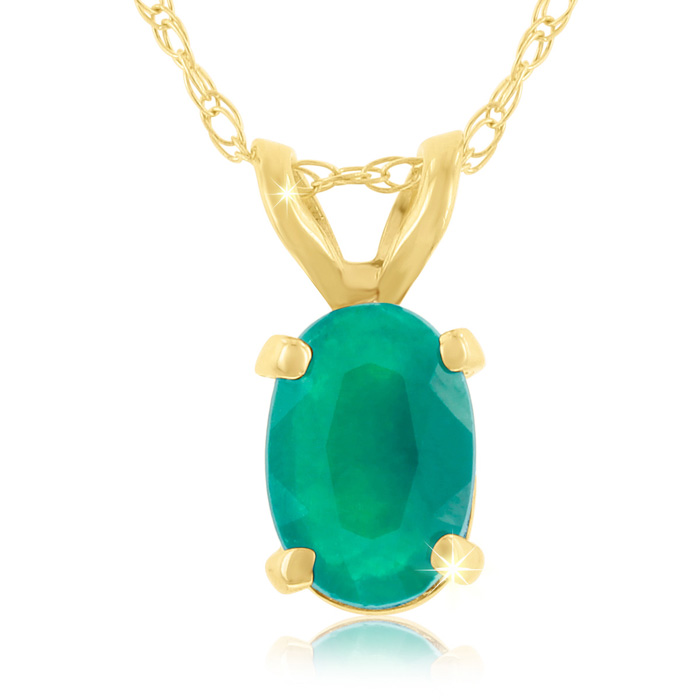 1/2 Carat Oval Emerald Pendant Necklace in 14k Yellow Gold (0.7 g), 18 Inch Chain by SuperJeweler