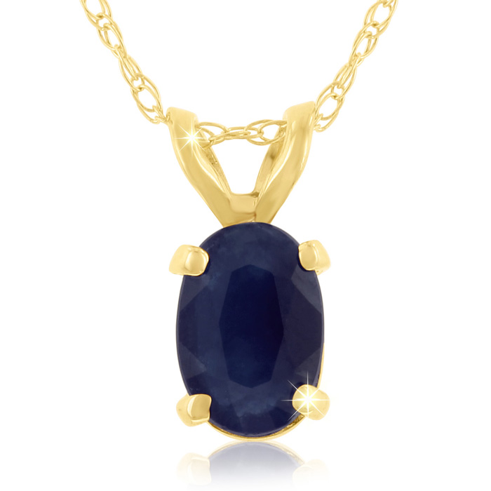 Image of .60ct Oval Sapphire Pendant in 14k Yellow Gold
