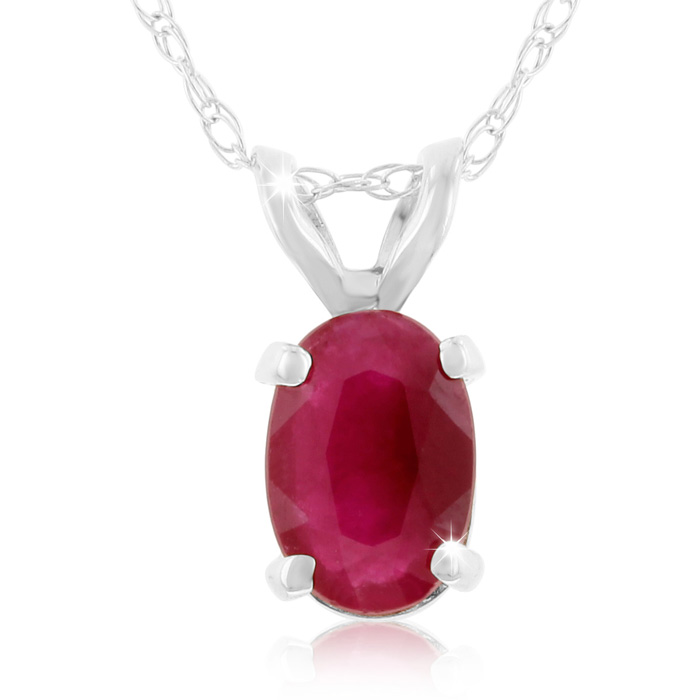 .60 Carat Oval Ruby & Diamond Pendant Necklace in 14k White Gold