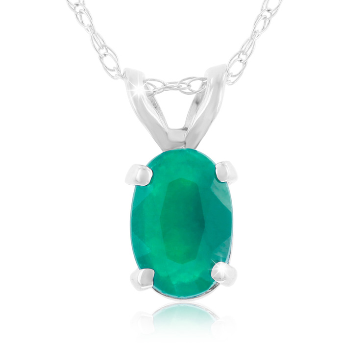 1/2 Carat Oval Emerald Cut & Diamond Pendant Necklace in 14k Whit