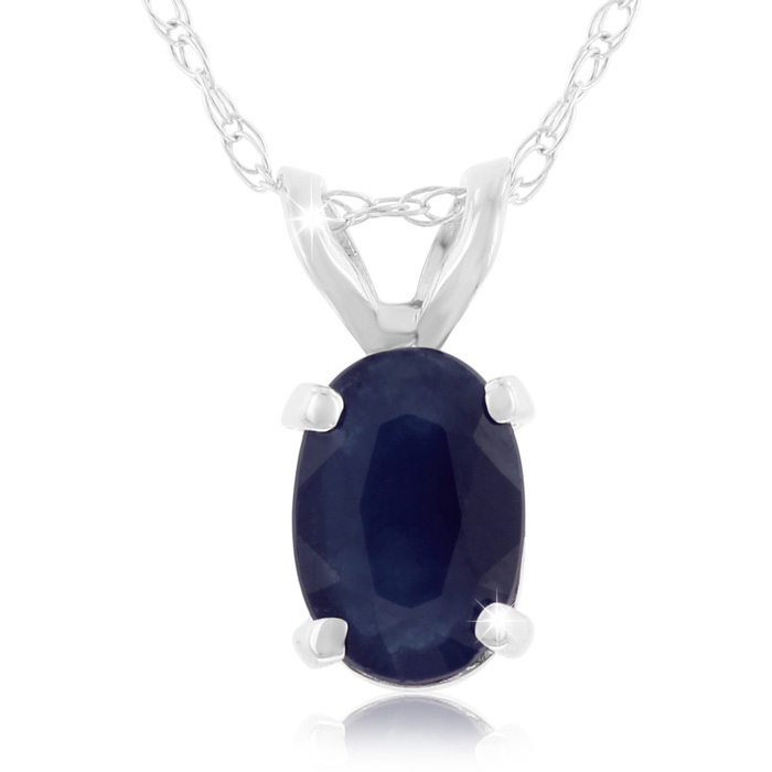 .60 Carat Oval Sapphire & Diamond Pendant Necklace in 14k White G