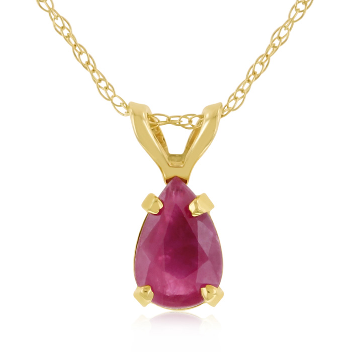 .60 Carat Pear Shaped Ruby Pendant Necklace in 14k Yellow Gold (0