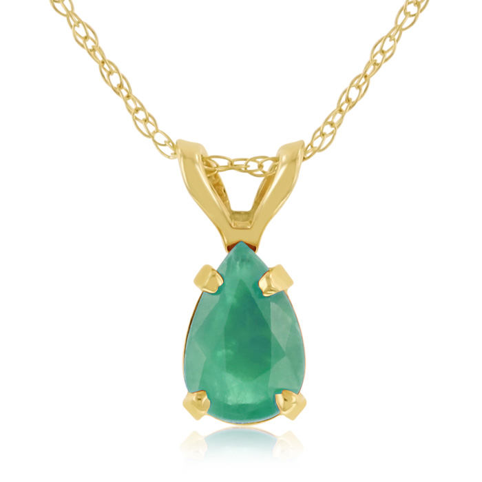 1/2 Carat Pear Shaped Emerald Pendant Necklace in 14k Yellow Gold