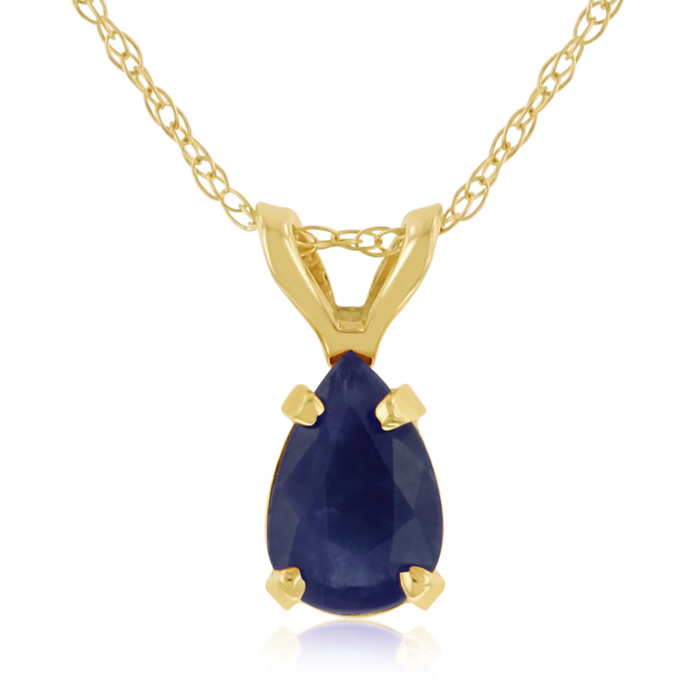 .60 Carat Pear Shaped Sapphire Pendant Necklace in 14k Yellow Gold (0.7 g), J/K, 18 Inch Chain by SuperJeweler
