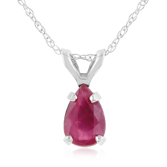 Image of .60ct Pear Shaped Ruby Pendant in 14k White Gold