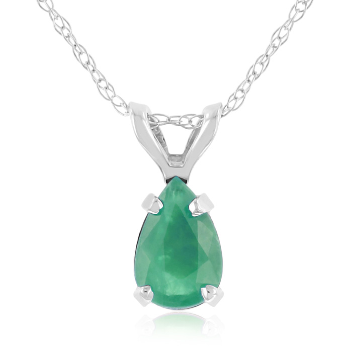 1/2 Carat Pear Shaped Emerald Pendant Necklace in 14k White Gold