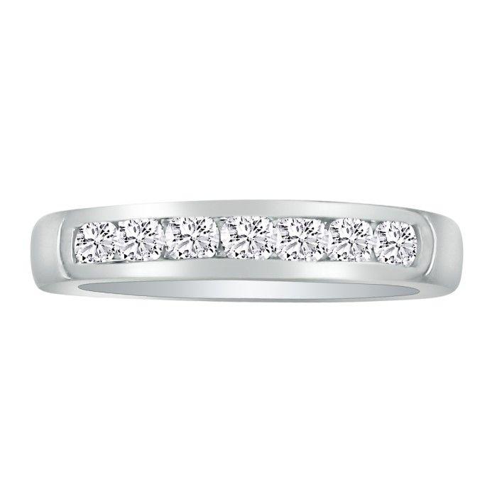 1 Carat Platinum Diamond Wedding Band, Channel Set, G/H by Hansa