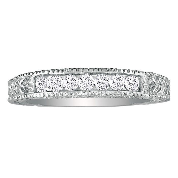 7 Diamond Platinum Diamond Wedding Band, Antique Model, Channel S