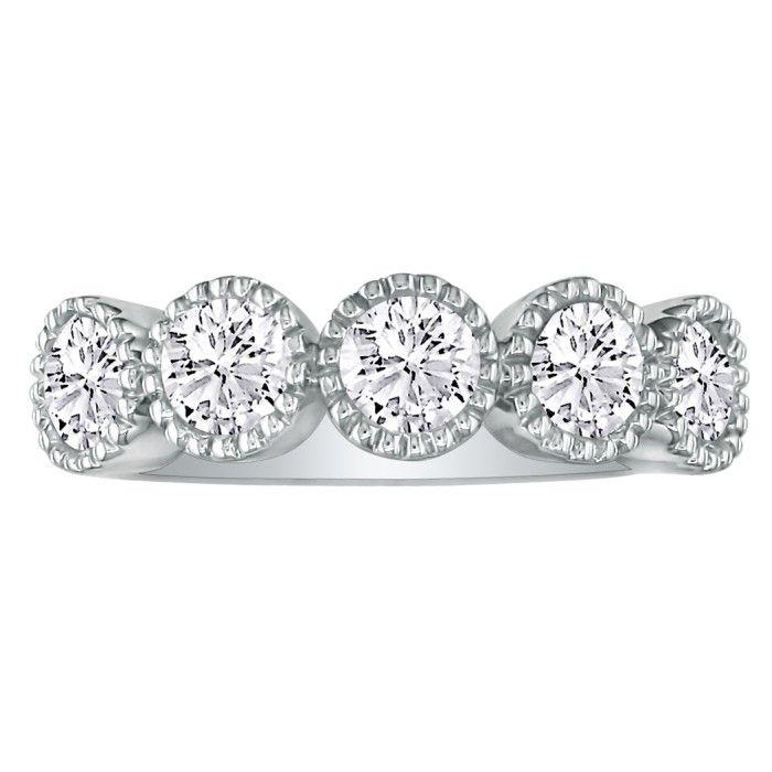 5 Diamond Milgrain Bezel Platinum Diamond Wedding Band, G/H by Ha
