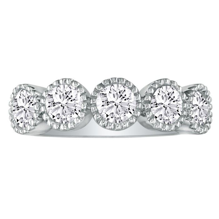 5 Diamond Milgrain Bezel 1/2 Carat Platinum Diamond Wedding Band,