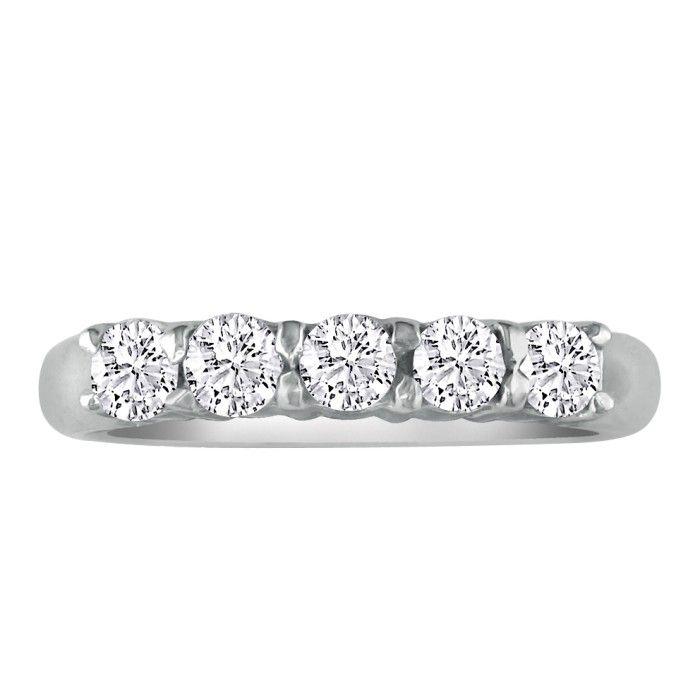 Perfect 1 Carat Platinum Diamond Wedding Band, G/H by Hansa