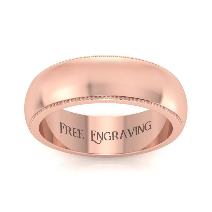 18K Rose Gold 6MM Comfort Fit Milgrain Ladies and Mens Wedding Band, Size 4, Free Engraving