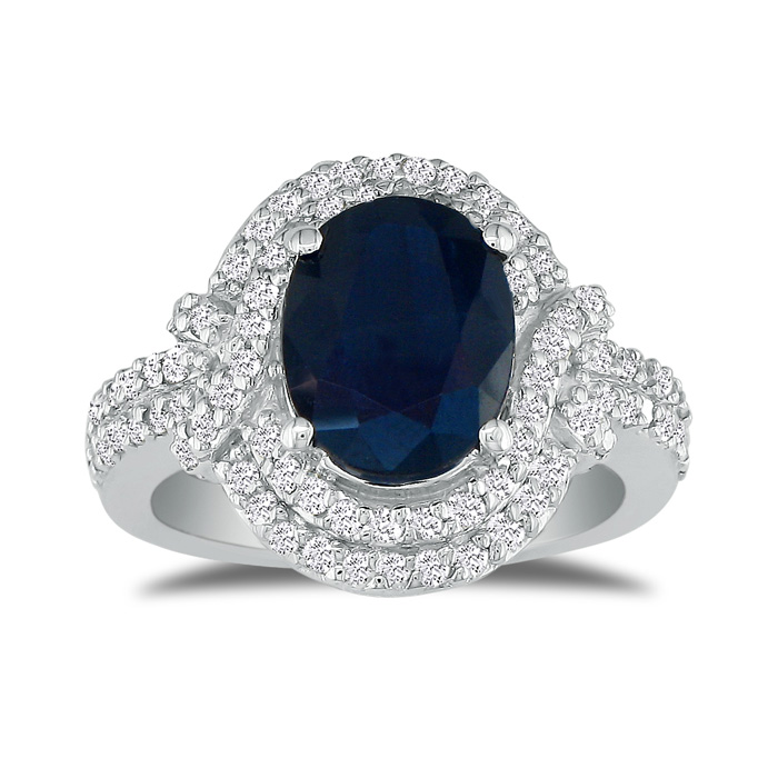Eye-Catching 4.12 Carat Oval Sapphire & Diamond Ring in 14k White