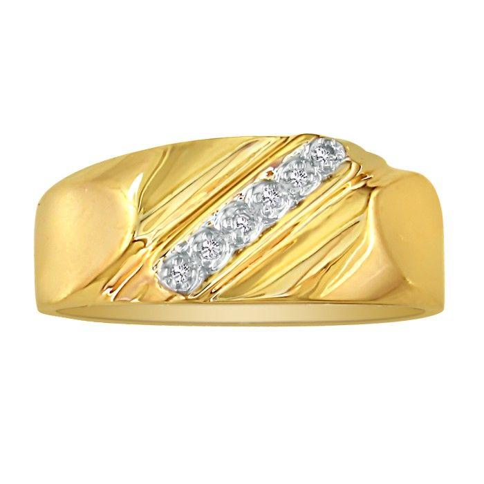 Classic Diagonal .03 Carat Mens Diamond Wedding Band in 10k Yellow Gold (2.5 g), I/J by SuperJeweler