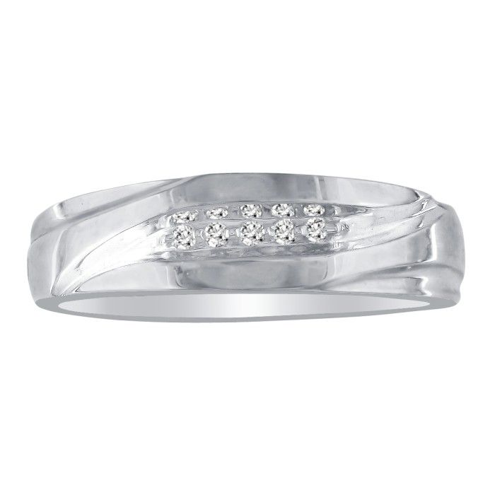 Debonair Sweeping Mens Diamond Wedding Band in 10k White Gold (2.