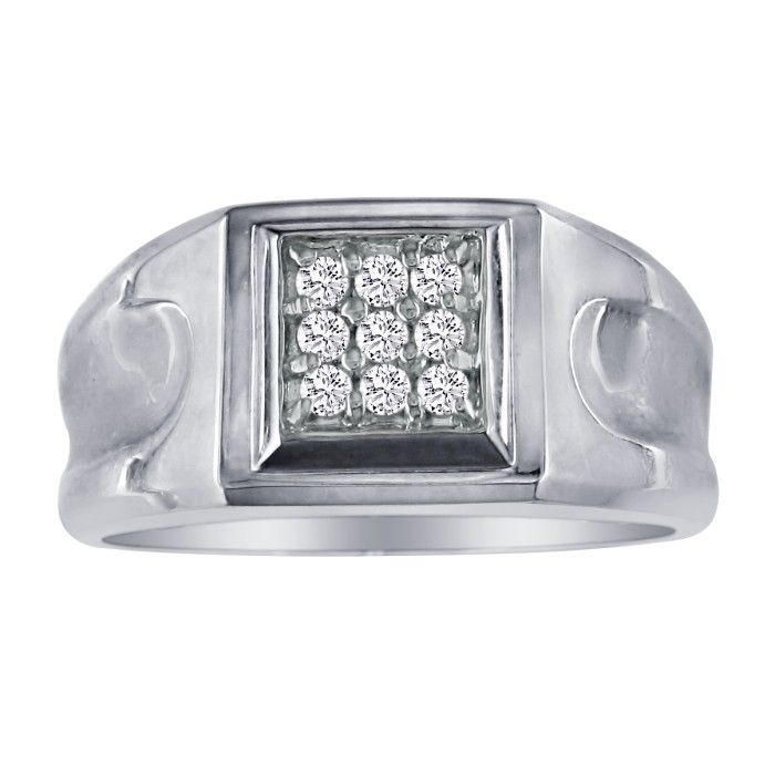 1/5 Carat 9-Diamond Stylish Mens Ring, 10K White Gold (4.3 g), I/