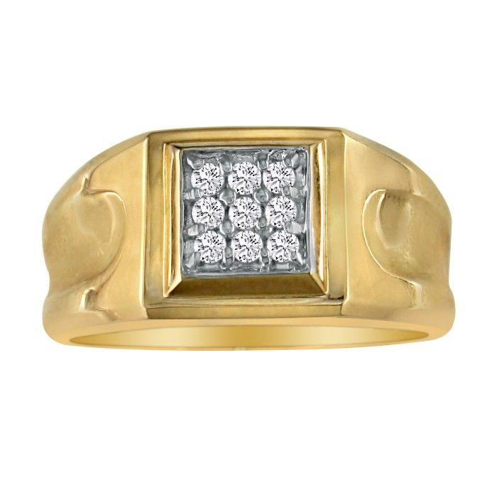 1/5 Carat 9-Diamond Stylish Mens Ring in 10k Yellow Gold (4.3 g),