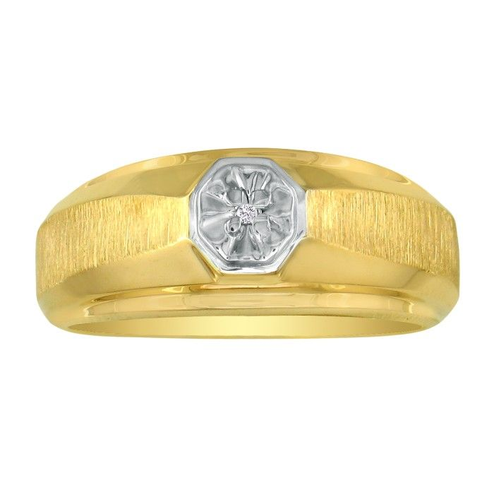 Fancy Set Half-Brushed Mens Diamond Wedding Band in 10k Yellow Go
