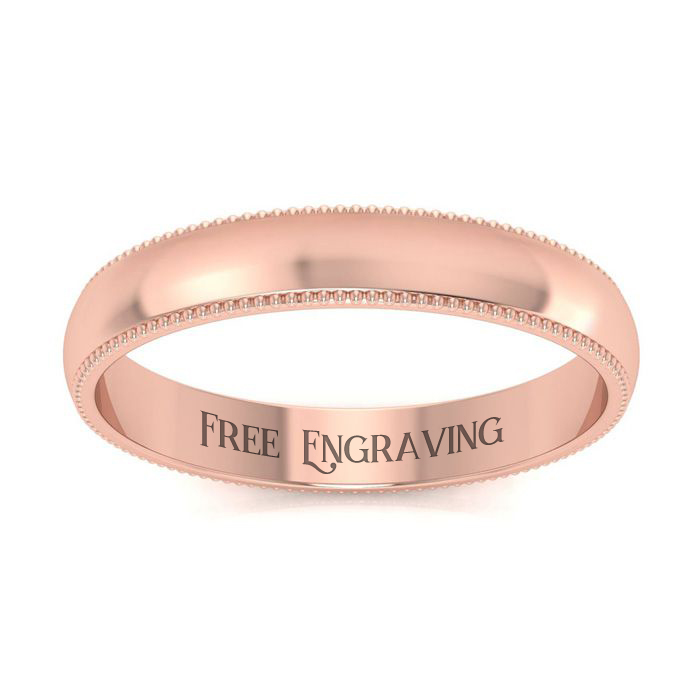 10K Rose Gold (2.4 g) 3MM Milgrain Ladies & Mens Wedding Band, Si