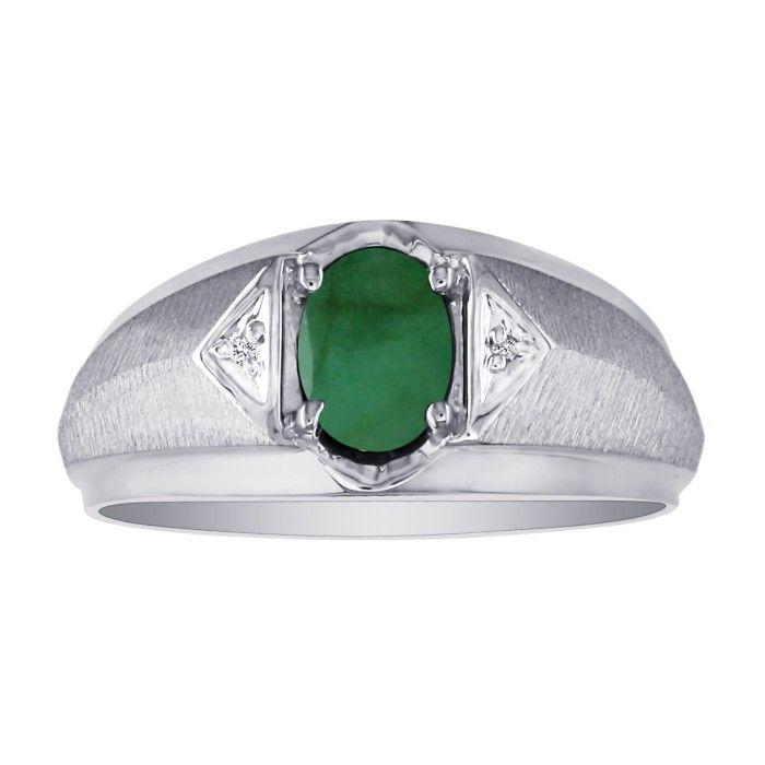 Mens Emerald Cut & White Diamond Ring in 10k White Gold (2.8 g),