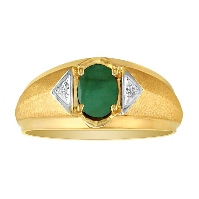 Mens Emerald Cut & White Diamond Ring in 10k Yellow Gold (2.8 g), I/J by SuperJeweler