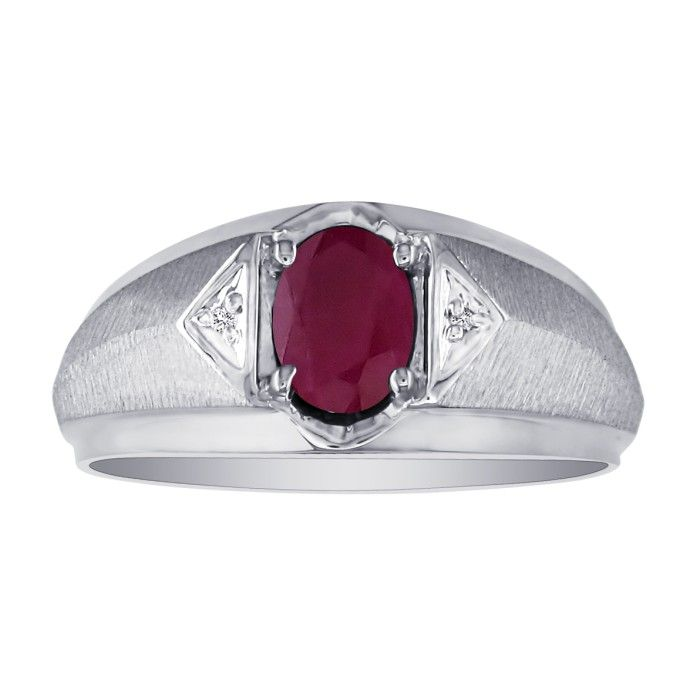 Mens Ruby and White Diamond Ring in