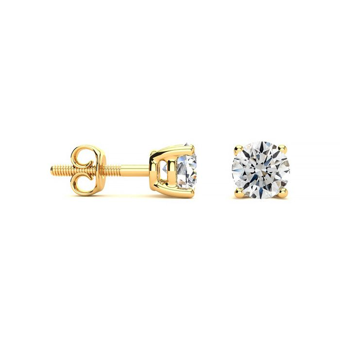 1 Carat Fine Quality Diamond Stud Earrings in 14k Yellow Gold, I/