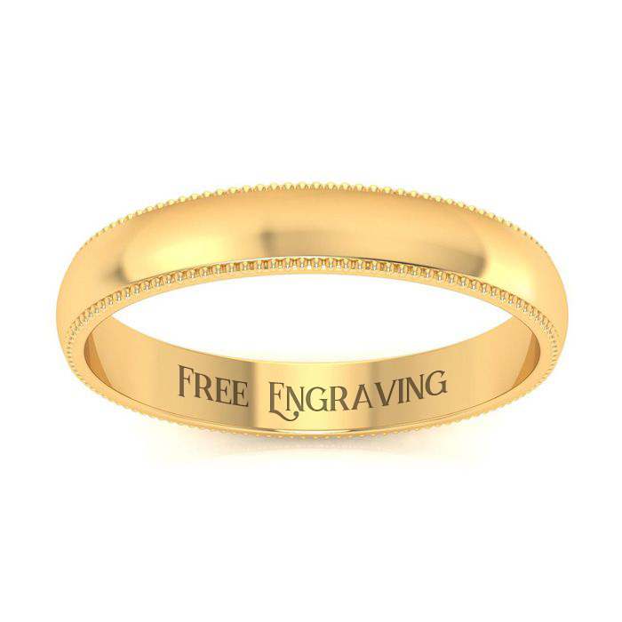 14K Yellow Gold 3MM Milgrain Ladies and Mens Wedding Band, Size 16, Free Eng..