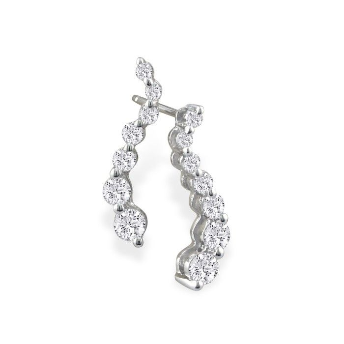 Radiant 1/2 Carat Journey Diamond Earrings in 14k White Gold, I/J