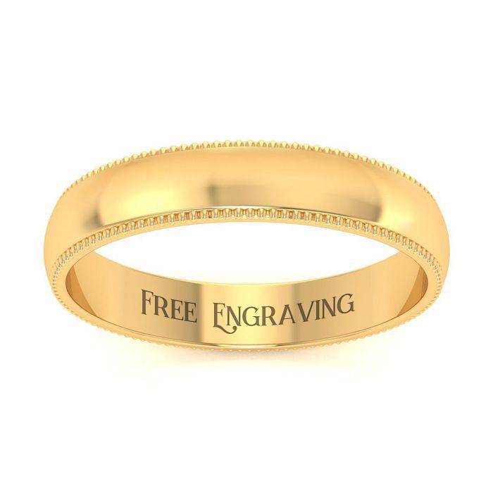 14K Yellow Gold (3.5 g) 4MM Milgrain Ladies & Mens Wedding Band,