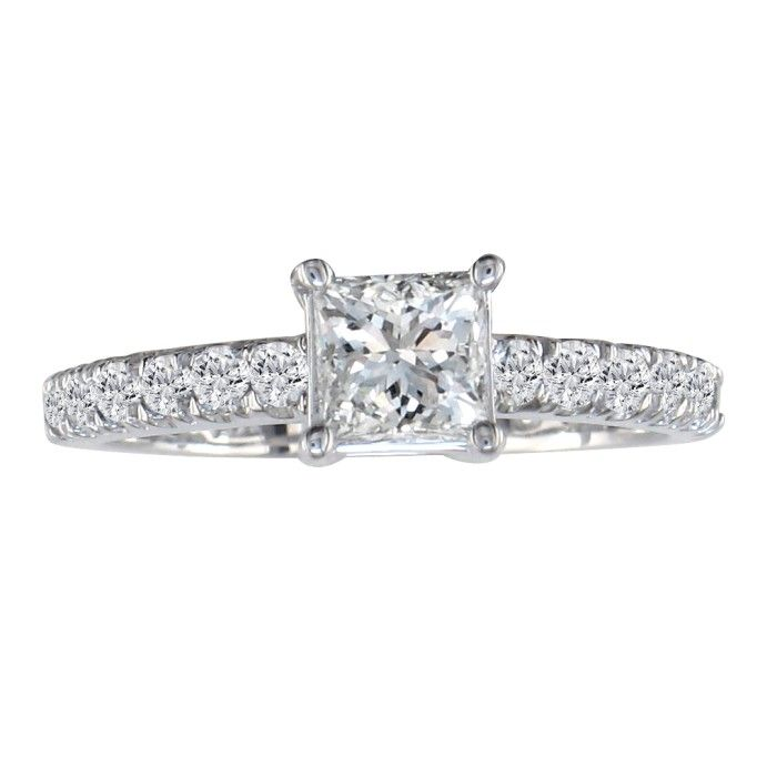 1.25 Carat Princess Cut Diamond Engagement Ring in 14k White Gold (H-I, SI2-I1) by Hansa