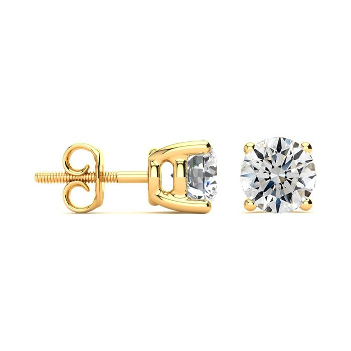 2 Carat Fine Quality Diamond Stud Earrings in 14k Yellow Gold, I/