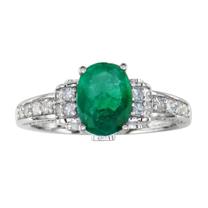 White Gold 1 3/5 Carat Oval Emerald Cut & Diamond Ring in 14k White Gold, I/J by SuperJeweler