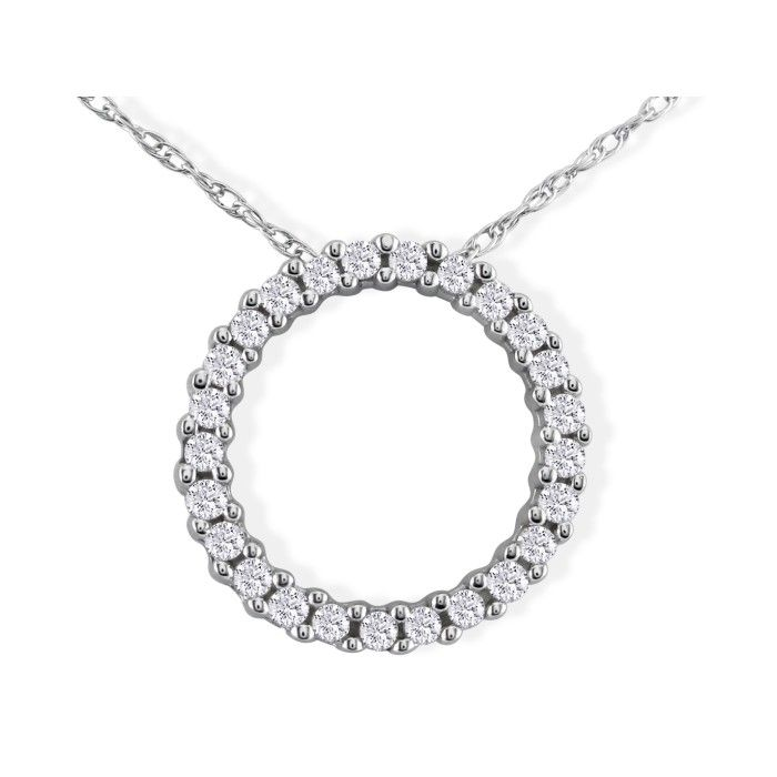 Sweet & Sparkly 1/10 Carat Circle Diamond Pendant Necklace in White Gold, H/I, 18 Inch Chain by SuperJeweler