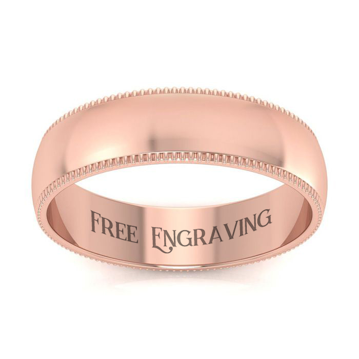 18K Rose Gold (4.4 g) 5MM Milgrain Ladies & Mens Wedding Band, Si