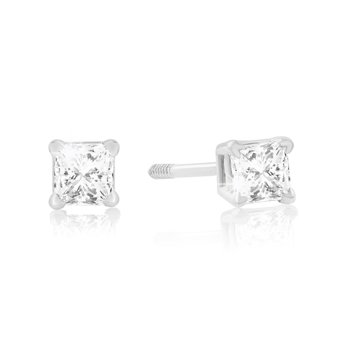 1/4 Carat Princess Cut Diamond Stud Earrings in 14k White Gold, H
